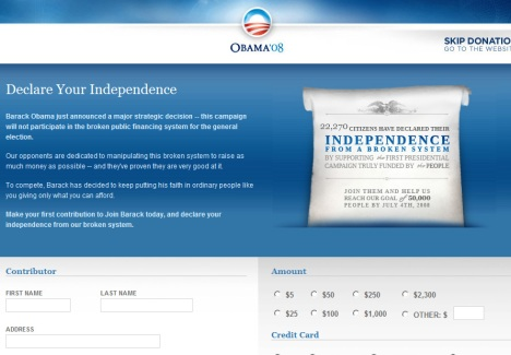 Screenshot from Obama\'s site.